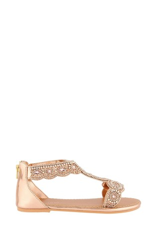 Monsoon Embellished Metallic Sandals