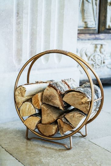 Antique Gold Round Log Storage by Ivyline