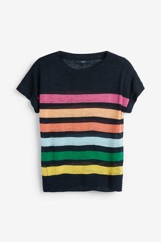 Navy Linen Blend T-Shirt