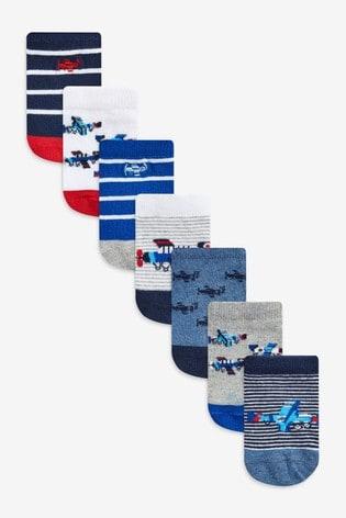 Blue Plane 7 Pack Cotton Rich Trainer Socks