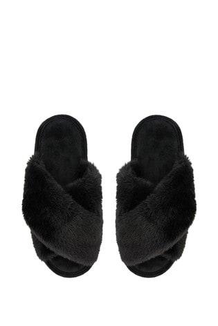 Accessorize Black Luxe Faux Fur Sliders