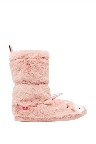 Joules Pink Junior Padabout Luxe Faux Fur Slipper Socks