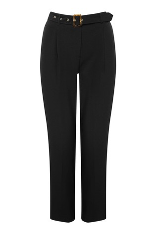M&Co Black Belted Tapered Leg Trousers