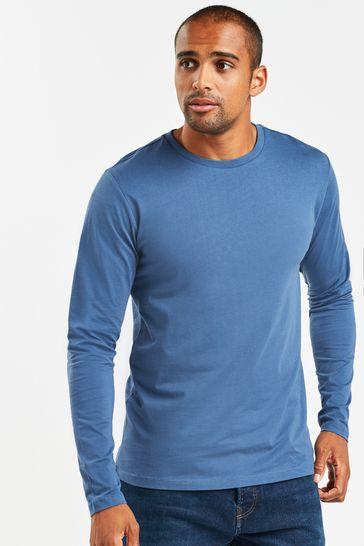 Denim Blue Regular Fit Long Sleeve Crew Neck T-Shirt