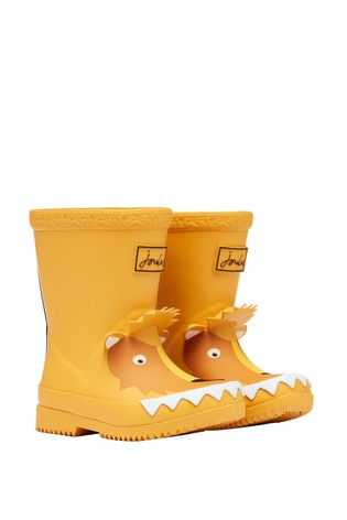 Joules Yellow Printed Baby Wellies