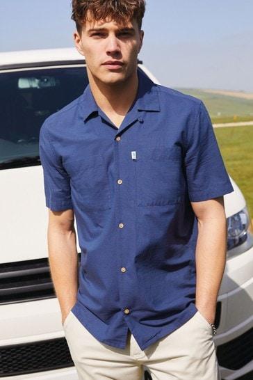 Navy Mr Blue Sky Organic Cotton Dobby Shirt