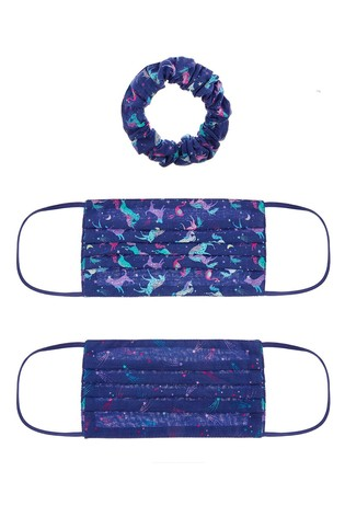 Monsoon Two Pack Unicorn Face Covers And Scrunchie