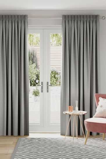 Chenille Square Grey Made to Measure Curtains