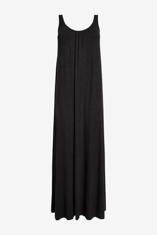 Black Trapeze Maxi Dress