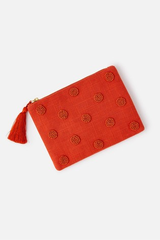 Accessorize Orange Beaded Polka Dot Pouch Bag