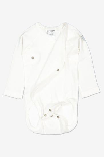 Polarn O. Pyret White Organic Cotton Wraparound Bodysuit