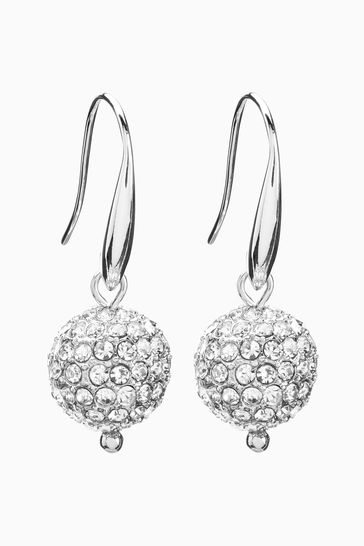 Silver Tone Pave Ball Drop Earrings