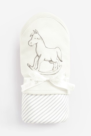 The Little Tailor Cream Rocking Horse Jersey Lined Blanket