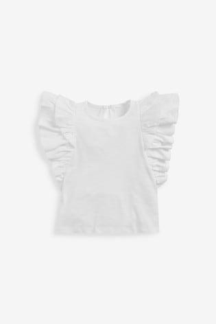 White Frill Sleeve Vest (3mths-7yrs)