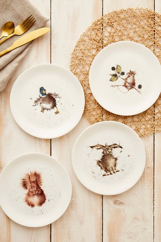 Set of 4 Royal Worcester Wrendale Animal Side Plates