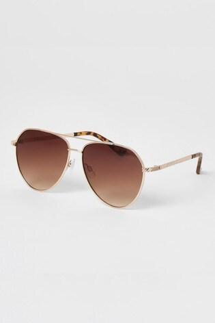 River Island Gold Maeve Torte Lens Sunglasses
