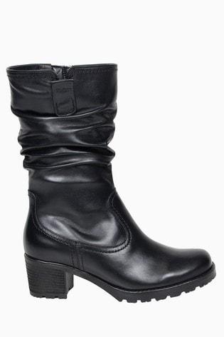 Gabor Dunmow Black Leather Calf Length Fashion Boots