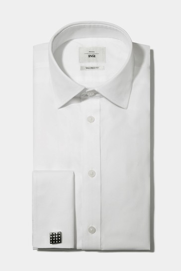 Moss 1851 White Tailored Fit Double Cuff Textured Iron Shirt