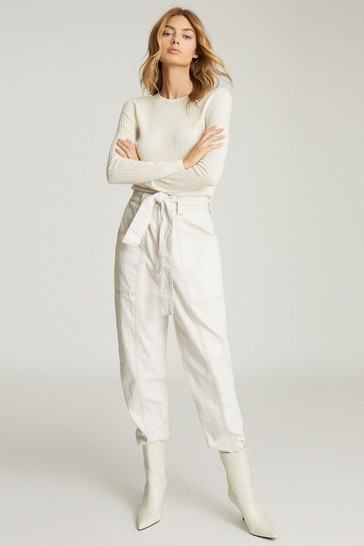 Reiss Cream Michelle Crew Neck Knitted Top