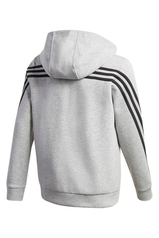 adidas 3 Stripe Zip Through Hoodie