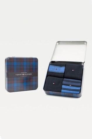 Tommy Hilfiger Blue Stripe Sock Tin Giftbox 4 Pack
