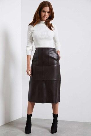 Mint Velvet Brown Leather Midi Skirt