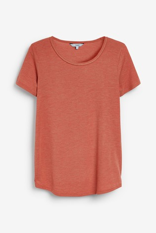 Coral Cut Metallic Scoop T-Shirt