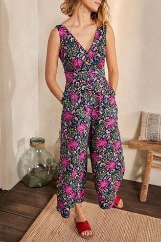 Boden Blue Jemima Linen Jumpsuit