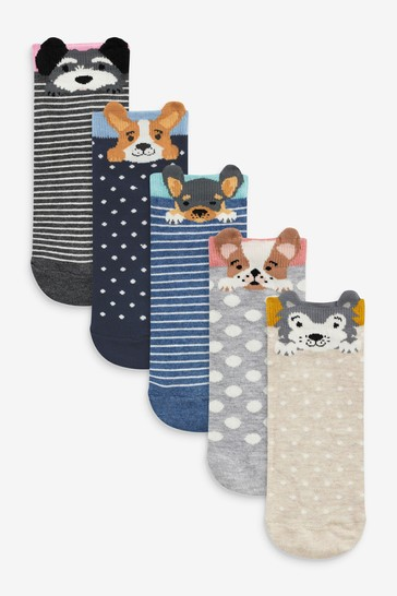 Multi Dog Faces Trainer Socks Five Pack