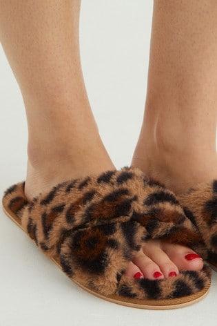 Oliver Bonas Natural Animal Crossover Slippers