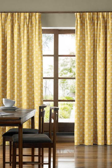 Woven Acorn Cup Dandelion Yellow Made To Measure Curtains by Orla Kiely