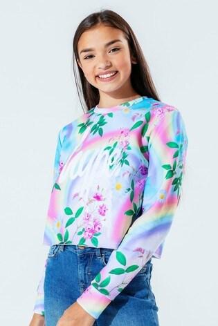 Hype. Kids Multi Daisy Rainbow Crop Crew Neck Sweater