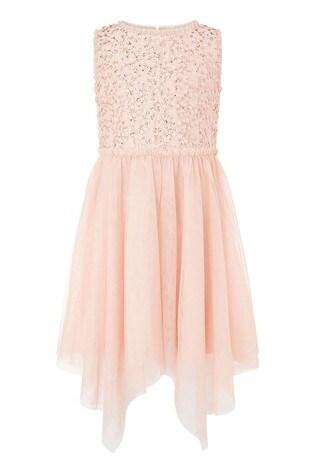 Monsoon Peach Sequin Frill Hanky Hem Dress