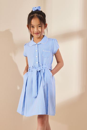 Blue Gingham Bow Dress With Scrunchie (3-14yrs)
