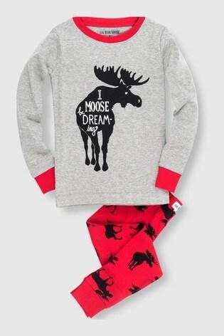 Hatley Grey Moose On Red Kids Appliqué Pyjamas Set
