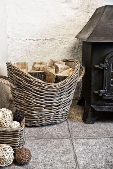 Wicker Log Oval Lined Basket by Ivyline
