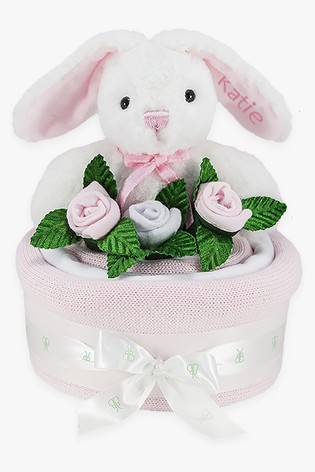 Babyblooms Pink Blanket Cake with Personalised Baby Bunny Soft Toy Gift