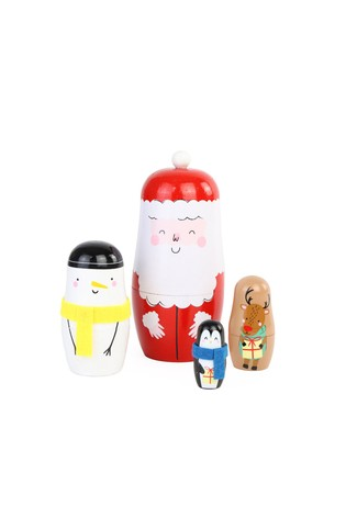 Set of 4 Paperchase Brown Christmas Nesting Dolls