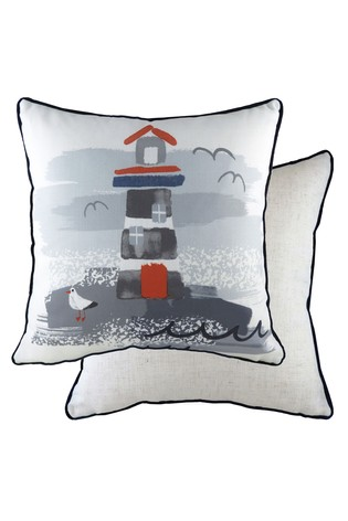 Nautical Lighthouse Cushion by Evans Lichfield