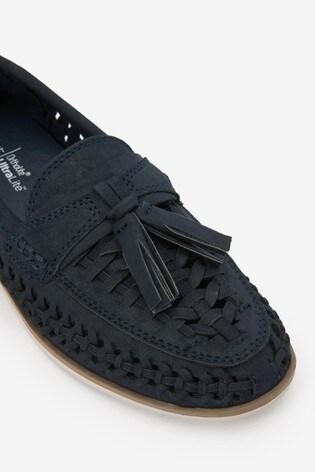 Navy Woven Tassel Loafers