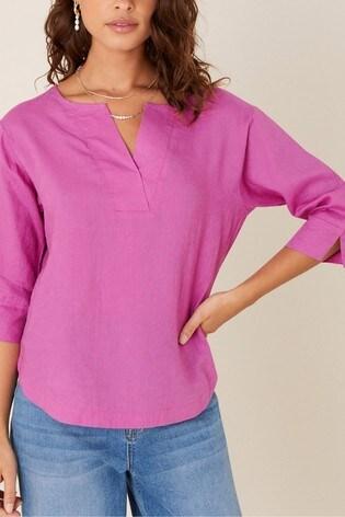 Monsoon Pink Daisy Plain Linen T-Shirt