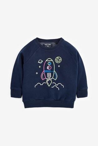 Navy Neon Rocket Jersey Crew Sweatshirt (3mths-5yrs)