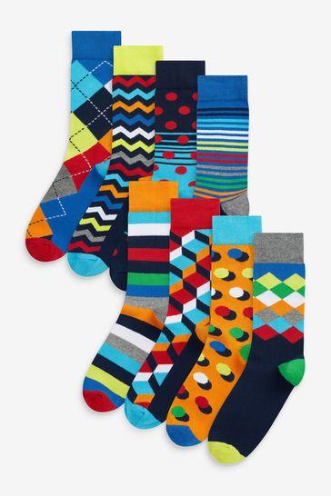 Bright Geo 8 Pack Pattern Socks