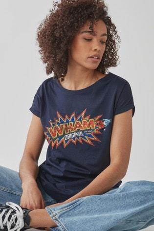 Licence Wham Navy Curved Hem T-Shirt
