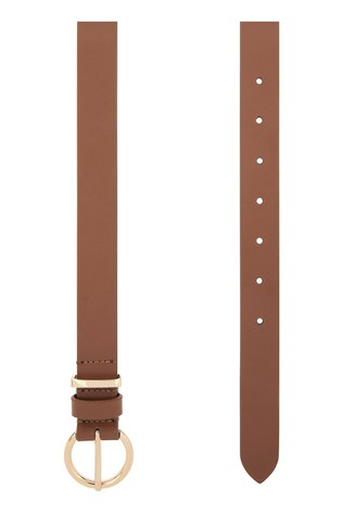Accessorize Tan Round Buckle Leather Jeans Belt