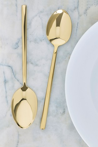 Gold Effect 2 Piece Serve Spoon Set