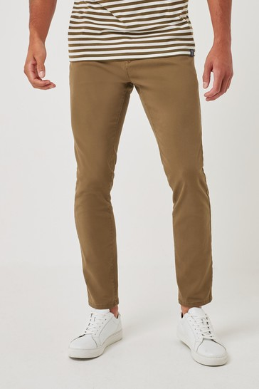Tan Skinny Fit Stretch Chino Trousers