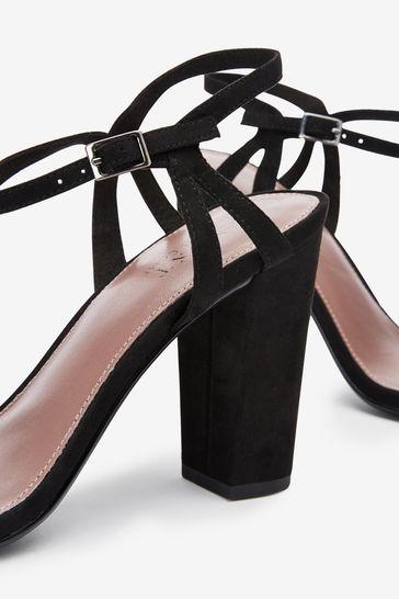 Black Block Heel Delicate Sandals