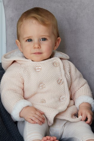 The Little Tailor Pink Baby Plush Lined Pram Coat