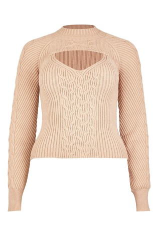 River Island Brown Light Cable 2 In 1 Jumper